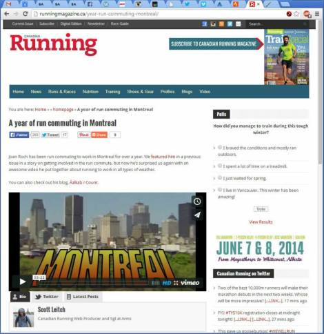 Canadian Running, Février 2014