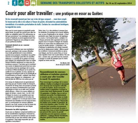 Marline Côté, Cahier spécial de la Semaine des transports collectifs, Septembre 2014