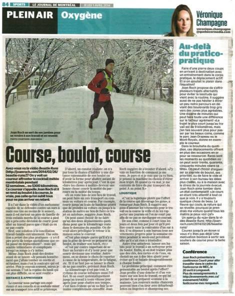 Véronique Champagne, Le Journal de Montréal, Chronique Oxygène, 3 avril 2014, p. 84