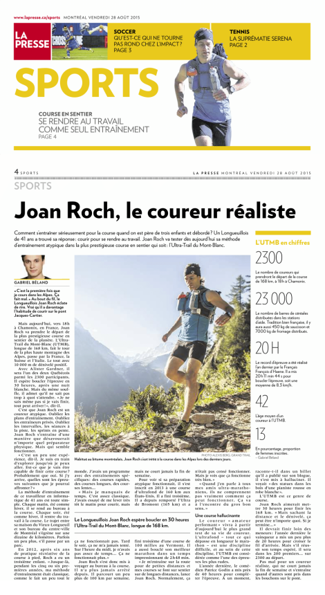 Gabriel Béland, 28 août 2015, La Presse, pp. 1, 4