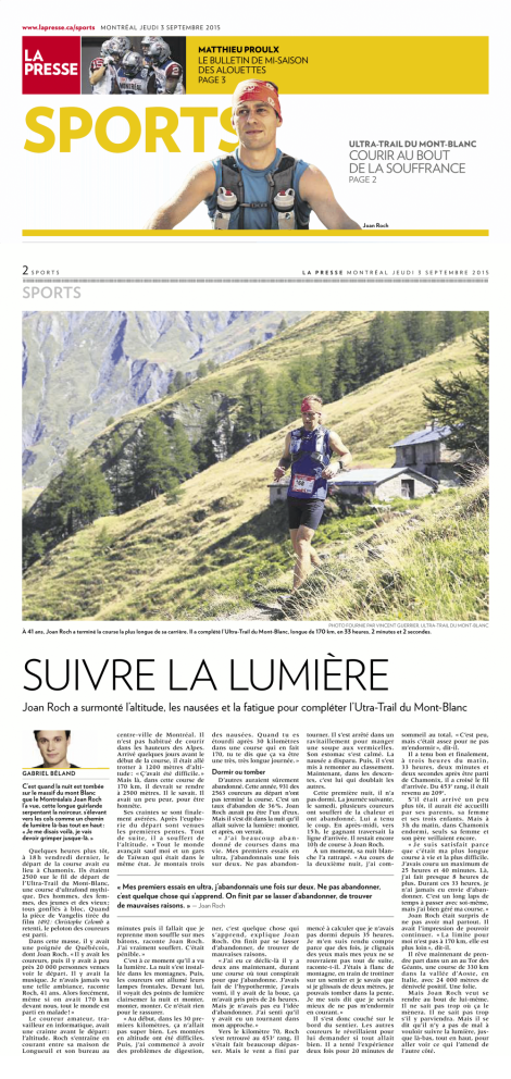 Gabriel Béland, 5 septembre 2015, La Presse, pp. 1-2